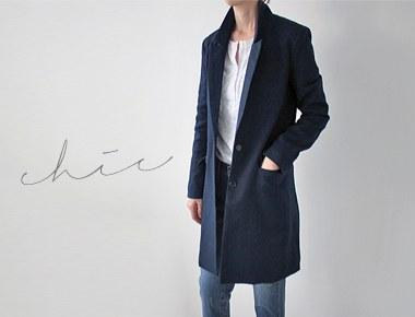 ホープジャガードロングジャケット北欧スタイルのミニマルなロングジャケット〜ロイヤルネイビー追加