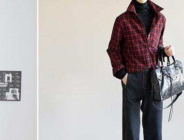 [当日出荷] [新上5%がある]レットチェックワイドカフシャツ