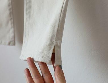 フィリップ裾ひらきスリムパンツピョンピョンした起毛素材10部丈ですよ〜