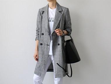 【当日出荷】リネンチェック修正ロングジャケット