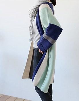Megin vertical stripe long cardigan - 2c
