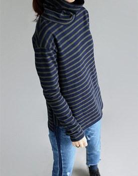High neck Stripe tee - 2c