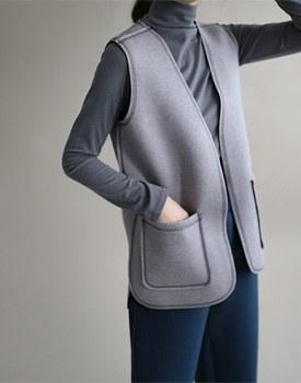 [当日出荷] ku neo vest  -  2cソフィスティケイトカラー感コートの中に着るすごく良い〜