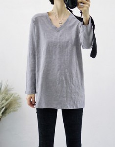 Long sleeve pappy V neck tee - 3c