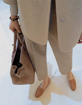 JENNA cropped slacks pants - beige