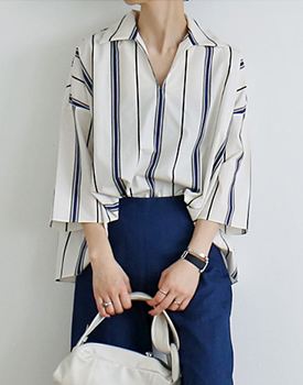 Stripe fold Blouse
