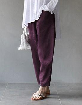 Line baggy linen pants - 2c
