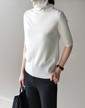 Pure wool half sleeve turtleneck - 3c