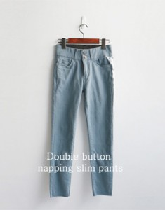 Double button napping slim pants - 2c
