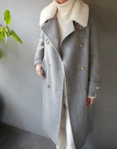 Alpaca Mustang collar long Coat