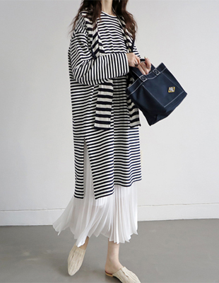 Slit long striped tee - 2c
