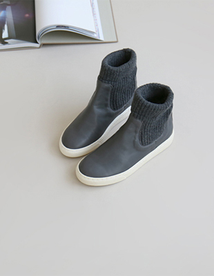 leather knit high-top  -  2c