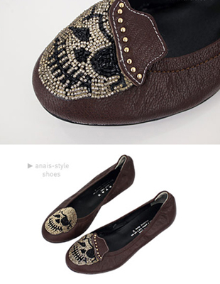 skull real leather flat