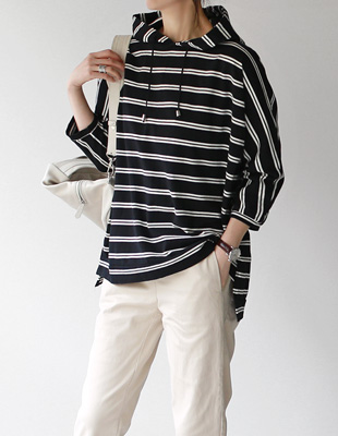 James Stripe Hood Tee