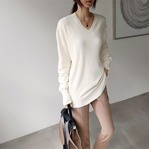 V neck a-line long knit top - 3c
