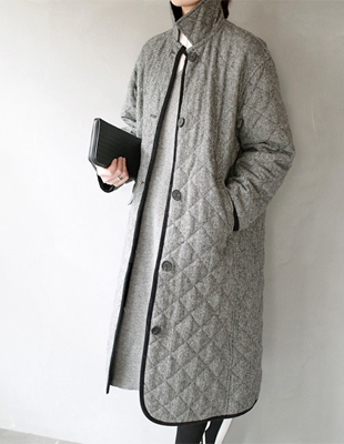 Quilting herringbone long coat - 2c
