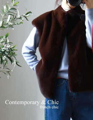 High quality fake mink vest - 2c