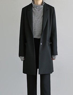 Jacquard 2 button long jacket - Black