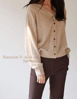 Raccoon v neck cardigan - 3c