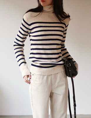 cash striped turtleneck - 3c