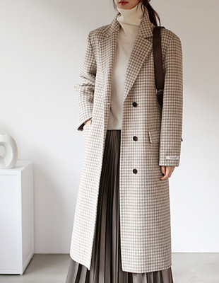 Gingham check handmade coat - 2c