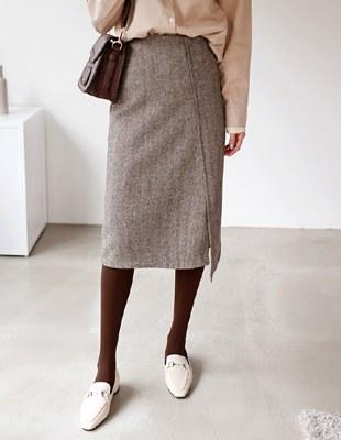 Slit herringbone skirt - 2c