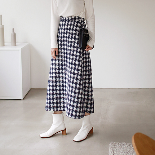 Check Flare Long Skirt - 2c