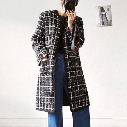 round tweed - coat