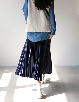 Marker pleated long skirt - 2c
