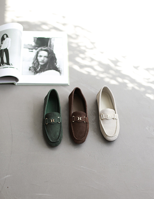 H leather loafer