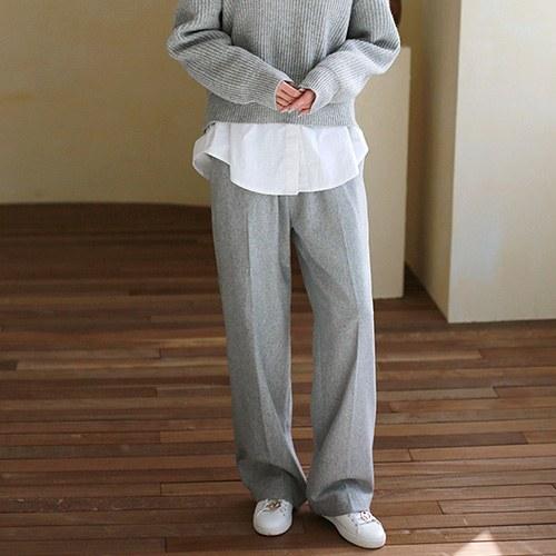 Thin Wool Wide Pants
