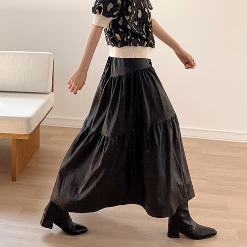 Eco Leather Flare Skirt